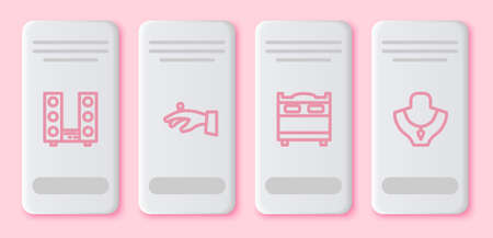 Set line Home stereo with two speakers, Wedding rings on hand, Bedroom and Necklace mannequin. White rectangle button. Vector Illustration