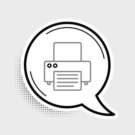 Line Printer icon isolated on grey background. Colorful outline concept. Vector