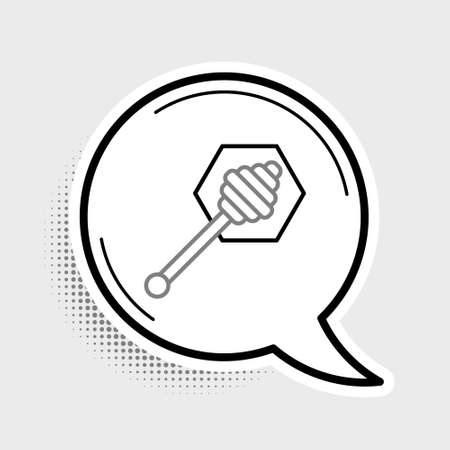 Line Honey dipper stick icon isolated on grey background. Honey ladle. Colorful outline concept. Vector