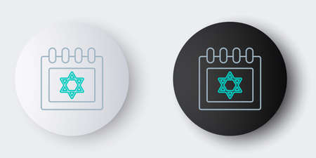Line Jewish calendar with star of david icon isolated on grey background. Hanukkah calendar day. Colorful outline concept. Vector