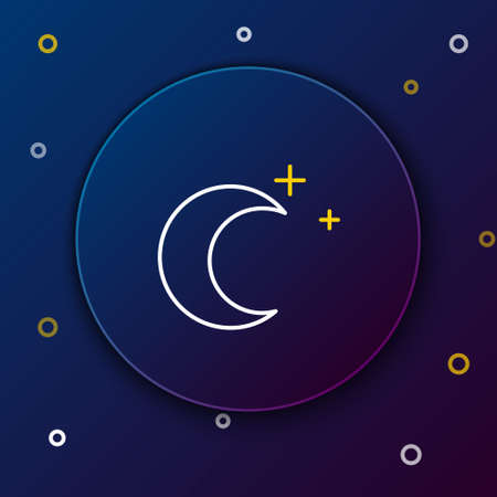 Line Moon and stars icon isolated on blue background. Colorful outline concept. Vector