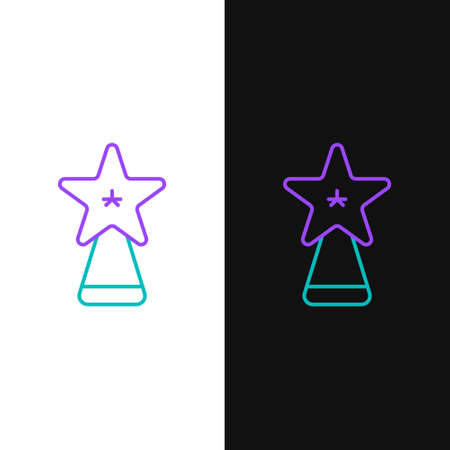 Line Christmas star icon isolated on white and black background. Merry Christmas and Happy New Year. Colorful outline concept. Vector
