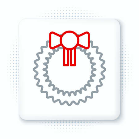 Line Christmas wreath icon isolated on white background. Merry Christmas and Happy New Year. Colorful outline concept. Vector 向量圖像