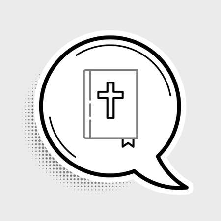 Line Holy bible book icon isolated on grey background. Colorful outline concept. Vector 일러스트