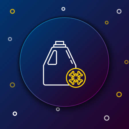 Line Antifreeze canister icon isolated on blue background. Auto service. Car repair. Colorful outline concept. Vector
