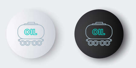 Line Oil railway icon isolated on grey background. Train oil tank on railway car. Rail freight. Oil industry. Colorful outline concept. Vector