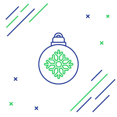 Line Christmas ball icon isolated on white background. Merry Christmas and Happy New Year. Colorful outline concept. Vector 向量圖像