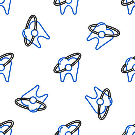 Line Tooth whitening concept icon isolated seamless pattern on white background. Tooth symbol for dentistry clinic or dentist medical center. Colorful outline concept. Vector