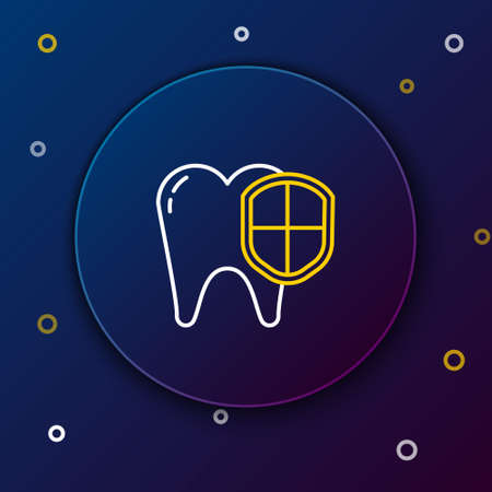Line Dental protection icon isolated on blue background. Tooth on shield icon. Colorful outline concept. Vector 矢量图像