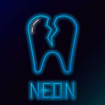 Glowing neon line Broken tooth icon isolated on black background. Dental problem icon. Dental care symbol. Colorful outline concept. Vector