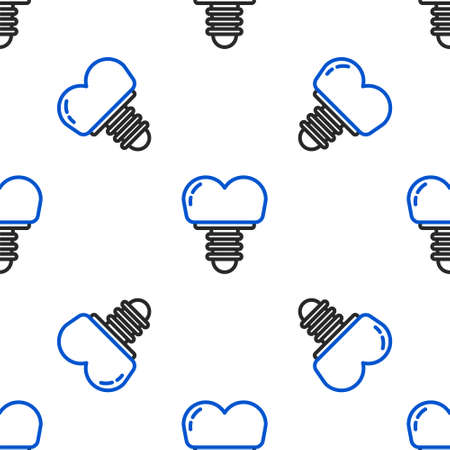 Line Dental implant icon isolated seamless pattern on white background. Colorful outline concept. Vector