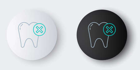 Line Tooth with caries icon isolated on grey background. Tooth decay. Colorful outline concept. Vector 矢量图像