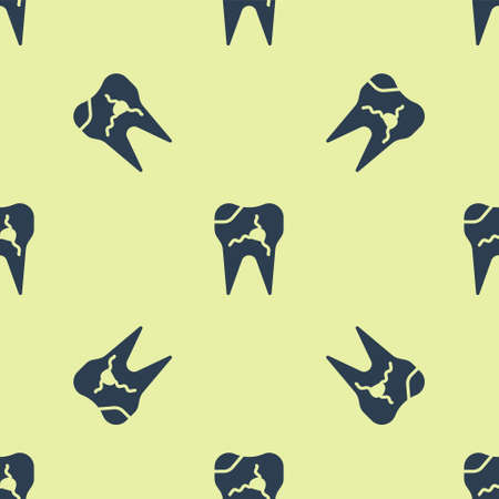 Blue Broken tooth icon isolated seamless pattern on yellow background. Dental problem icon. Dental care symbol. Vector Illustration 矢量图像