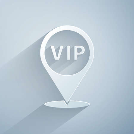 Paper cut Location Vip icon isolated on grey background. Paper art style. Vector
