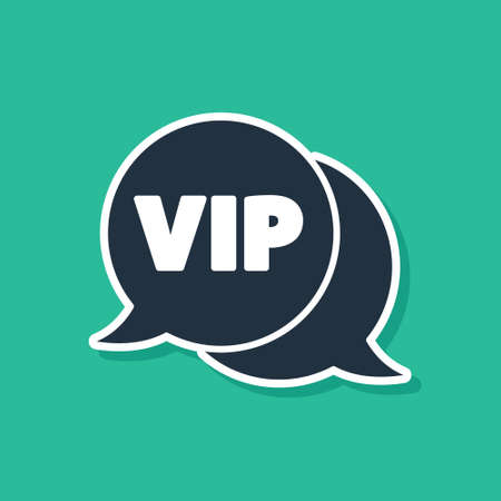 Blue Vip in speech bubble icon isolated on green background. Vector Ilustracja