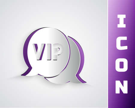 Paper cut Vip in speech bubble icon isolated on grey background. Paper art style. Vector