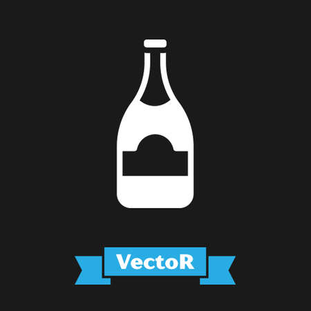 White Champagne bottle icon isolated on black background. Vector