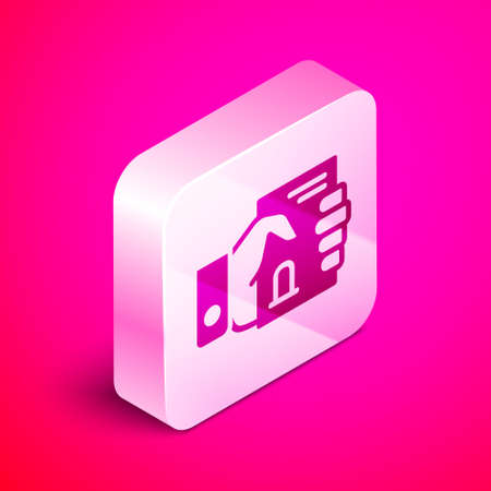 Isometric Death certificate in hand icon isolated on pink background. Silver square button. Vector Ilustrace