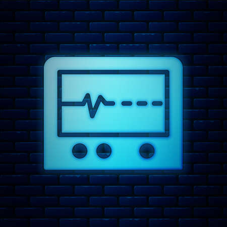 Glowing neon Beat dead in monitor icon isolated on brick wall background. ECG showing death. Vector.
