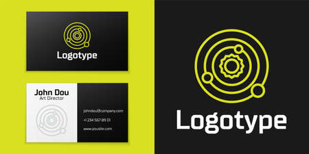 Logotype line Solar system icon isolated on black background. The planets revolve around the star. Logo design template element. Vector Illustration