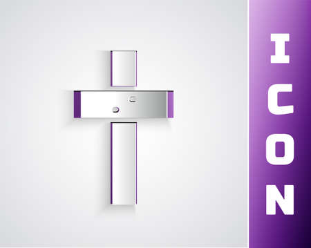 Paper cut Christian cross icon isolated on grey background. Church cross. Paper art style. Vector