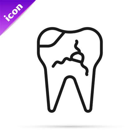 Black line Broken tooth icon isolated on white background. Dental problem icon. Dental care symbol. Vector Illustration 矢量图像