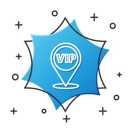 White line Location Vip icon isolated on white background. Blue hexagon button. Vector Ilustracja