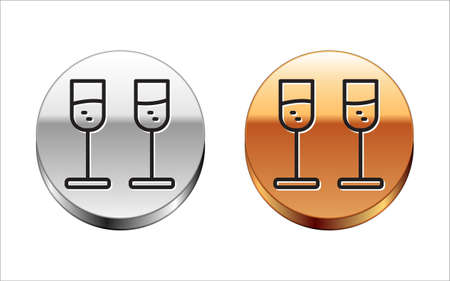 Black line Glass of champagne icon isolated on white background. Silver-gold circle button. Vector  イラスト・ベクター素材
