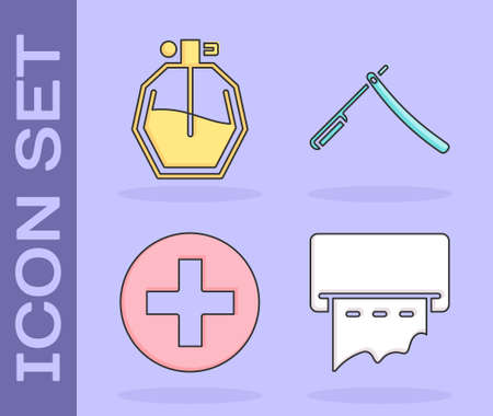 Set Paper towel dispenser on wall, Perfume, Cross hospital medical and Straight razor icon. Vector