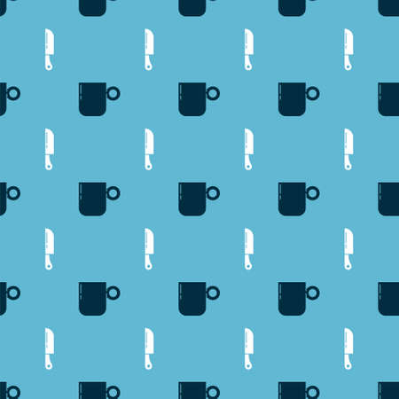 Set Coffee cup and Knife on seamless pattern. Vector Çizim