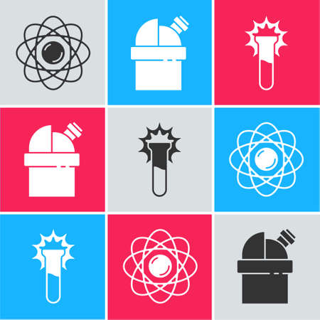 Set Atom, Astronomical observatory and Test tube and flask icon. Vector