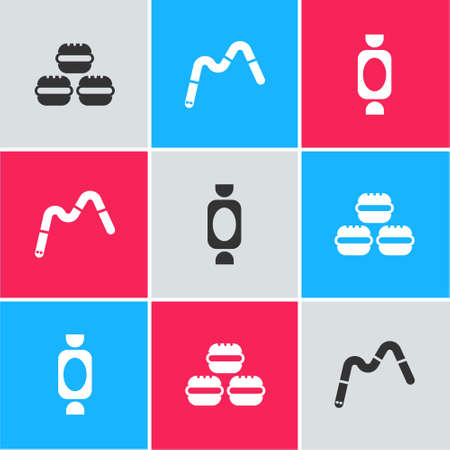 Set Macaron cookie, Jelly worms candy and Candy icon. Vector