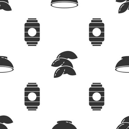 Set Bowl of hot soup, Chinese fortune cookie and Japanese paper lantern on seamless pattern. Vector Illustration