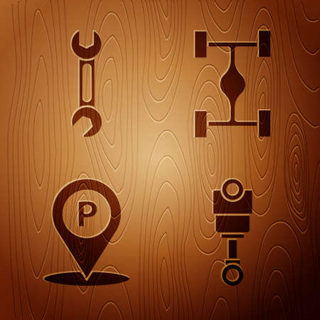 Set Engine piston, Wrench, Location with parking and Chassis car on wooden background. Vector Illusztráció