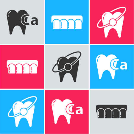 Set Calcium for tooth, Dentures model and Tooth whitening concept icon. Vector 矢量图像
