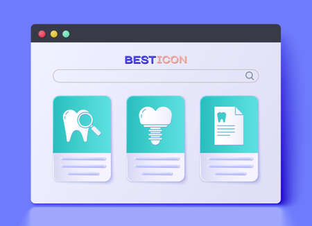 Set Dental implant, Dental search and Clipboard with dental card icon. Vector