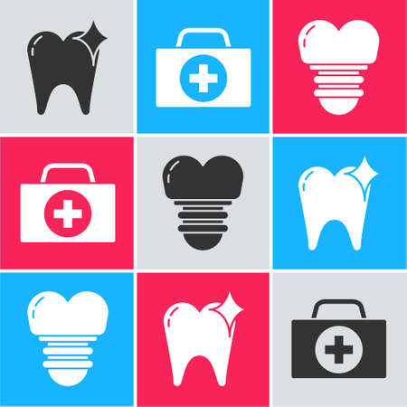 Set Tooth whitening concept, First aid kit and Dental implant icon. Vector