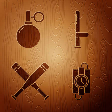 Set dynamite stick and timer clock, Hand grenade, Crossed baseball bat and Police rubber baton on wooden background. Vector