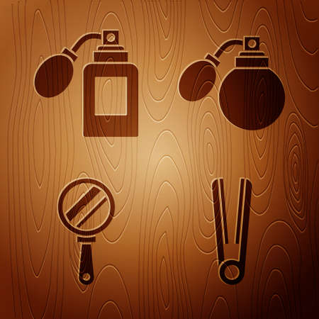 Set Curling iron for hair, Aftershave bottle with atomizer, Hand mirror and Aftershave bottle with atomizer on wooden background. Vector