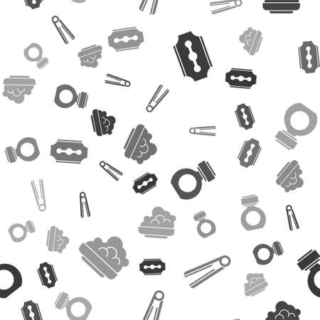 Set Blade razor, Curling iron for hair, Aftershave and Shaving gel foam on seamless pattern. Vector Ilustrace