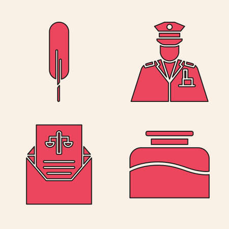 Set Inkwell, Feather pen, Police officer and Subpoena icon. Vector