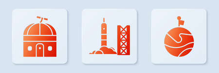 Set Rocket launch from the spaceport, Astronomical observatory and Moon with flag. White square button. Vector