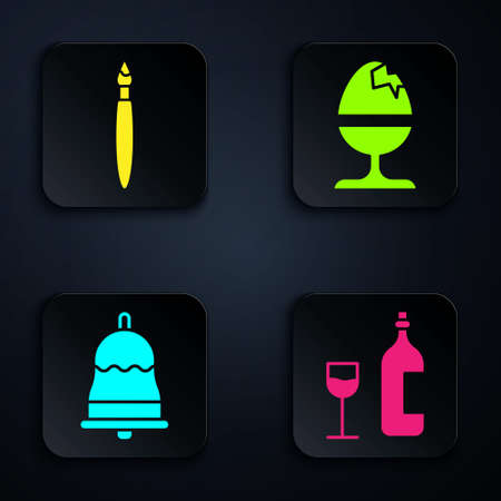 Set Wine bottle with glass, Paint brush, Ringing bell and Chicken egg on a stand. Black square button. Vector