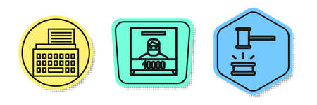 Set line Retro typewriter, Wanted poster and Judge gavel. Colored shapes. Vector