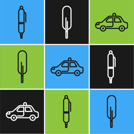 Set line Pen, Police car and flasher and Feather pen icon. Vector