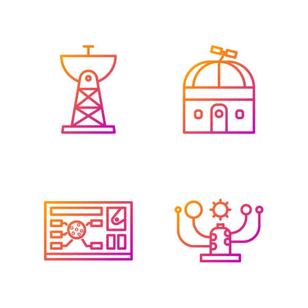 Set line Solar system, Futuristic hud interface, Satellite dish and Astronomical observatory. Gradient color icons. Vector 向量圖像