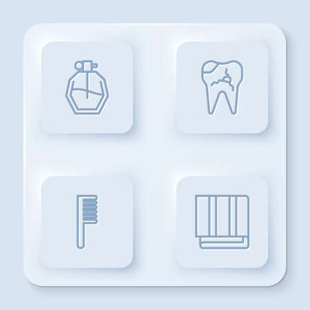 Set line Perfume, Broken tooth, Hairbrush and Towel stack. White square button. Vector Ilustrace