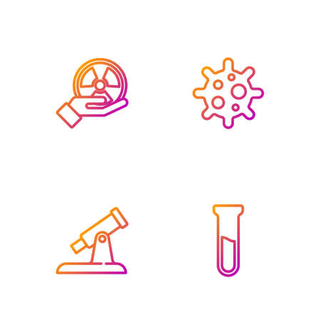 Set line Test tube and flask, Telescope, Radioactive and Virus. Gradient color icons. Vector