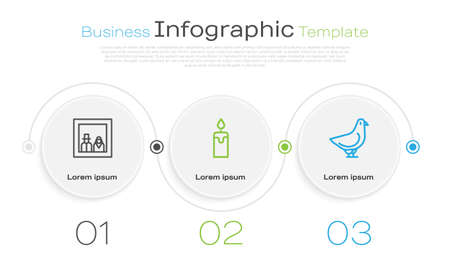 Set line Family photo, Burning candle and Dove. Business infographic template. Vector