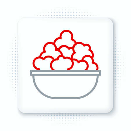 Line Popcorn in bowl icon isolated on white background. Popcorn bucket box. Colorful outline concept. Vector